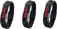 Ikd Combo Of 3 Black Thumb Press LED Band Fashion Digital Watch  - For Men