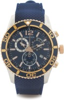Nautica NAI16502G Brushed Polished Silver Case, Navy Top Ring Analog Watch  - For Men