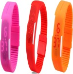 Y And D Wrist Watches Y And D Combo of Led Band Pink + Red + Orange Digital Watch For Boys, Couple, Girls, Women, Men