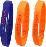Y And D Wrist Watches Y And D Combo of Led Band Blue + Orange + Orange Digital Watch For Boys, Couple, Girls, Women, Men