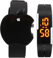 Xeno Apple LED All Black Unisex Digital Watch  - For Boys, Men, Girls, Women
