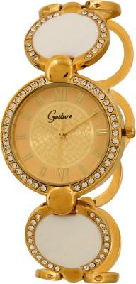 Gesture Elegant White Gold Elegant Analog Watch  - For Women