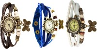Designculture Vintage Combo Of 3 Butterfly Charm Analog Watch  - For Women
