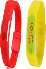 Y And D Wrist Watches Y And D Combo of Led Band Red + Yellow Digital Watch For Boys, Couple, Girls, Women, Men