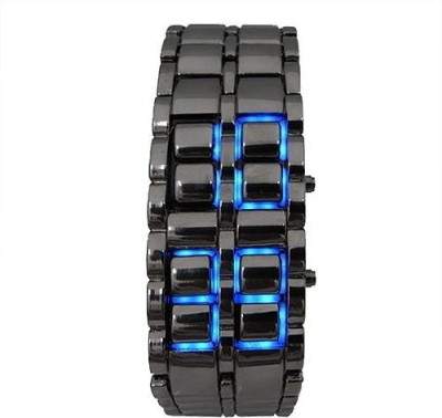 AndAlso Blue Led Watch Cum Bracelet Digital Watch - For Men, Women Black