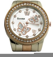 Sooms Jmd White Crystall Studded Butterflies Analog Watch  - For Girls, Women