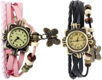 Pappi Boss Combo Offer Set Of 2 Vintage Black & Light Pink Leather Bracelet Butterfly Analog Watch  - For Girls, Women