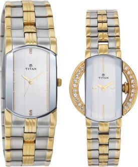 Titan Bandhan Analog Watch - For Couple (Gold, Silver)