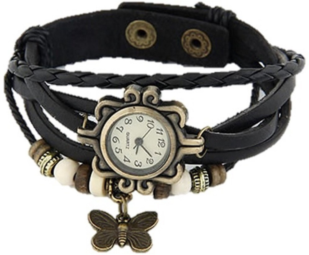 79% OFF on Xeno Butterfly Vintage Black Women\'s Analog Watch - For ...