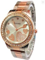 Sooms Sooms Heart Round Display Gold Diamonds M114 Analog Watch  - For Women