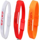 Y And D Wrist Watches Y And D Combo of Led Band White + Red + Orange Digital Watch For Boys, Couple, Girls, Women, Men