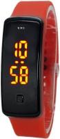 KMS Unisex Glass Led_Bravo_Red Digital Watch  - For Men, Women, Boys, Girls
