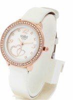 KMS Leather_HeartPrint_Dial_White Analog Watch  - For Women, Girls