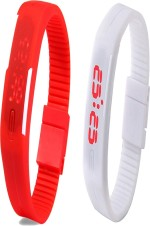 Y And D Wrist Watches Y And D Combo of Led Band Red + White Digital Watch For Boys, Couple, Girls, Women, Men
