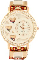 Addic Classy Crystal Studded Triple Hearts Thread Strap -W119 Analog Watch  - For Women