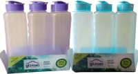 SHREEJEE TRANSPARENT 1000 Ml Water Bottles (Set Of 6, BLUE AND PURPLE)