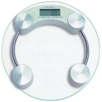 Creative Via 8MM Premium Thick Glass Digital Round Weight Machine Weighing Scale (White)