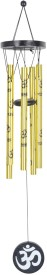 Varanasi Enterprises Feng Shui Metal OM Wind chime Golden 5 Pipes - Medium Iron Windchime