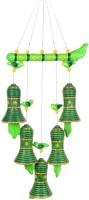 ExclusiveLane Handpainted Bird Hanging With Bells Green Terracotta Windchime