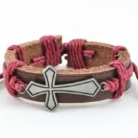 Alphaman Faith Ancient Cross Men, Boys Wrist Band - Pink, Pack Of 1
