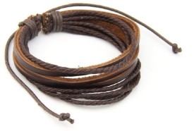 Amyra Lifestyle Leather Rope Bracelet - Casual Look (Brown) Men (Brown, Pack Of 1)