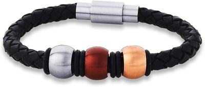 Peora Tri Colour Surgical Steel and Leather Men's Bracelet PSB736 Men, Boys Multi-color, Pack of 1