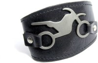 Streetsoul Biker's Men Wrist Band - Black, Pack of 1