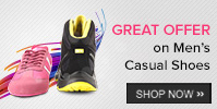 Buy Casual Shoes worth Rs 1499 or more - get 15% off, Rs. 2499 or more get 20% off