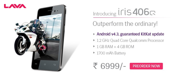 Lava Iris 406Q At Just Rs.6999/-