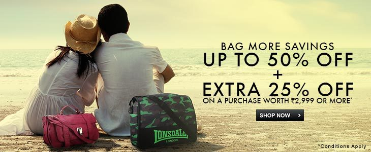 Upto 50% + Extra 25% off Bags, Wallets & Belts