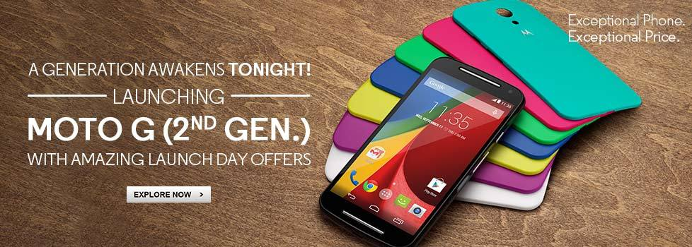 For 9999/- Moto G (2nd Gen) Smartphone at Flipkart