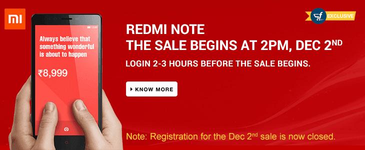 Redmi Note Sale 2nd Dec