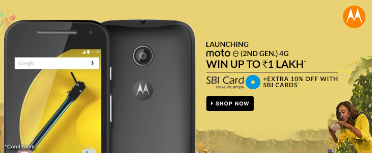 Buy Moto E (2nd Gen) @ Rs. 7999 & Win Shells worth Rs.899,100% cash back, FREE shopping worth Rs.1 lakh & More