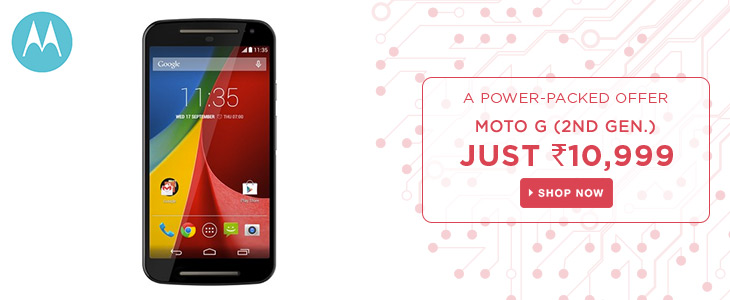 Moto G (2nd Gen) at 10,999/- + 10% off with SBI Cards