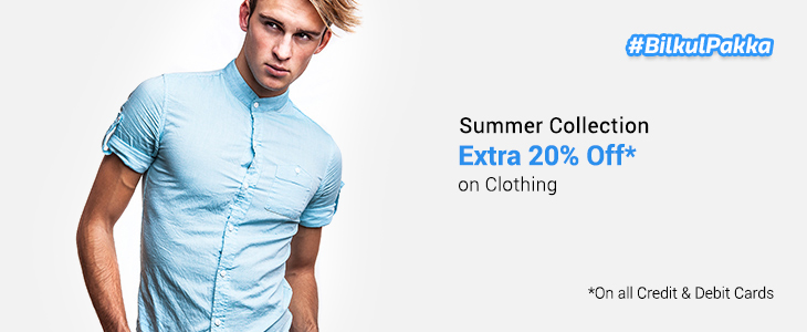 Flipkart: Get Extra 20% OFF on Clothing on all Credit & Debit Cards