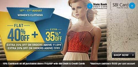 FLAT 40% OFF + EXTRA 35% OFF on Rs.1599+, EXTRA 20% OFF on Rs.999+